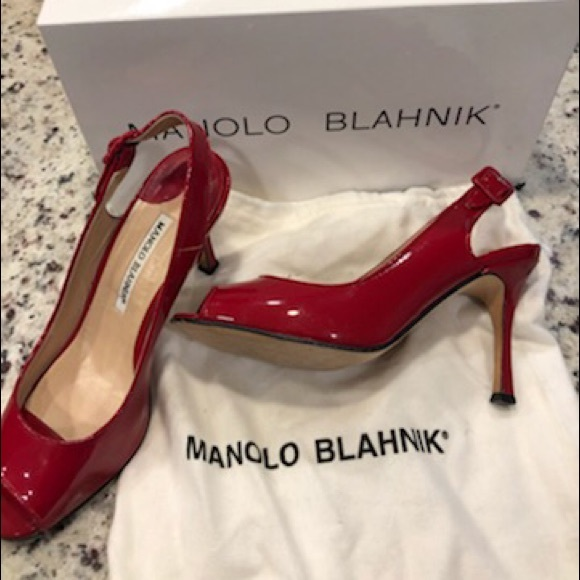 Manolo Blahnik Shoes - Manolo Blahnik Red Patent Heels Size 6